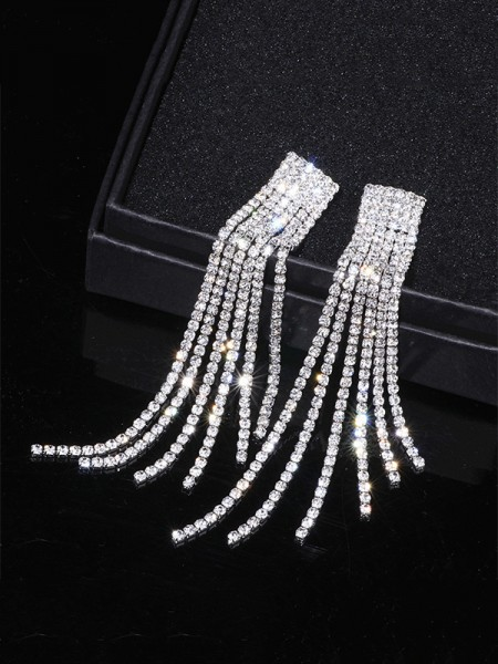 Fancy Strass Long Tassel Ohrringe