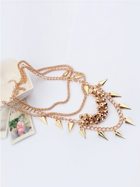 West Hyperbolic Stylish Street shooting Stil Button screw Metallic Multi-Schichtened Schlussverkauf NeckSpitze